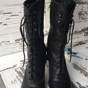 df00250f14d Diesel black leather granny boots size 38 (US 8)